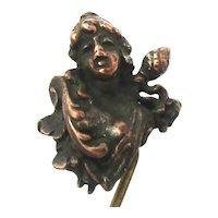 Victorian Bronze Stickpin Risque Woman Expressive Face