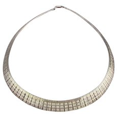 Italian Sterling Silver Finely Etched Omega Necklace