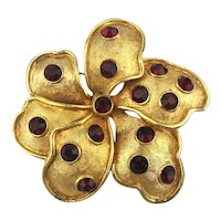 KRAMER Abstract Pretty Flower Pin Faux Rubies on Goldtone