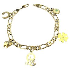 Gold-Filled Charm Bracelet of LOVE and LUCK