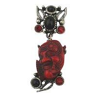 Vintage Selro Red Devil Noh Okina Mask Pin Brooch