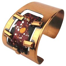 Modernist Matisse Red Enamel Copper Cuff Bracelet