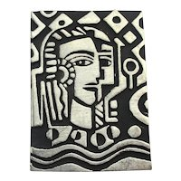 Alice Seely Abstract Picassoish Woman's Face Pewter Pin Brooch