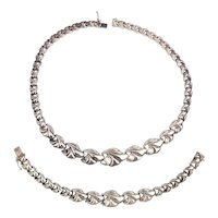 Modernist Italian Silverplated Necklace Bracelet Set