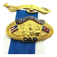 DAR Gold-Filled Treaty of Paris Enamel Pin w/ Ribbon