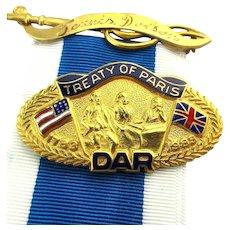DAR Gold-Filled Treaty of Paris Enamel Pin w/ Ribbon