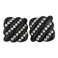 Big Black Lucite Rhinestone Clip Earrings - Runway Size
