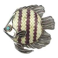 Intricate Sterling Silver Enamel Fish Pin Brooch