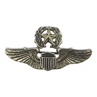 WWII Sterling Silver USAAF Command Pilot Wings Pin Meyer