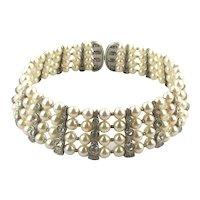 Wide Faux Pearl Rhinestone Wired Choker Necklace