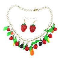 Vintage Glass Figural FRUIT Necklace w/ Strawberry Earrings