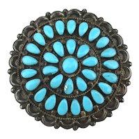Big Old Zuni V.M.B. BANTEAH Sterling Silver Pin Petit Point Turquoise