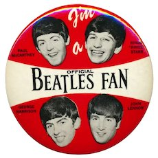 Original 1964 BEATLES Celluloid Pin ~ I'm a Beatles Fan ~ 3.5 Inches