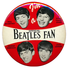Original 1964 BEATLES Celluloid Pin ~ I'm a Beatles Fan ~ 3.5 Inches