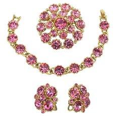Vintage WEISS Pink Rhinestone Parure - Bracelet Pin Earrings Set