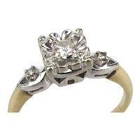 Vintage 14K White Yellow Gold Diamond Ring Engagement Friendship Love