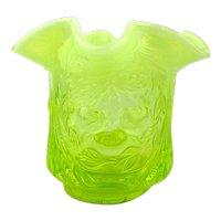 Vintage FENTON Yellow Vaseline Glass Vase Large Sugar Bowl