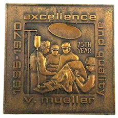 1970 Mueller Medical Instruments Co. Mini Bronze Paperweight