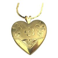 Romantic Gold-Filled Etched Heart Locket Necklace