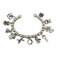 Vintage Sterling Silver Charm Bracelet Wired Beaded Fantastic