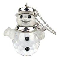 Vintage Swarovski Crystal Snowman Pendant Necklace Sterling Silver
