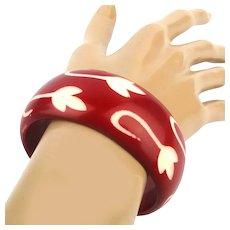 Vintage Carved Red White Resin Bangle Bracelet