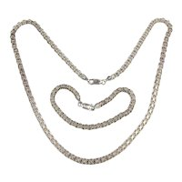 Dainty Pretty Sterling Silver Link Chain Necklace Bracelet Set