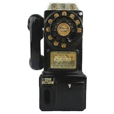 Vintage 1950s Ceramic Wall Telephone Bank Rotary Style