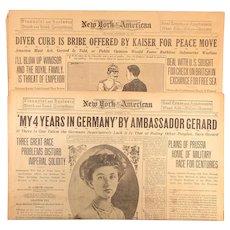 WW1 Original 1917 NEW YORK AMERICAN Newspaper Sections Kaiser Submarine Warfare