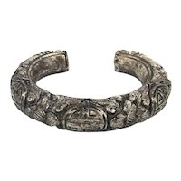 Antique Chinese Sterling Silver Cuff Bracelet Heavy Intricate Shou Lotus Engraving
