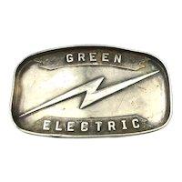 Sterling Silver Advertising Belt Buckle GREEN ELECTRIC Lightening Bolt