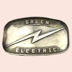 Sterling Silver Advertising Belt Buckle GREEN ELECTRIC Lightening Bolt
