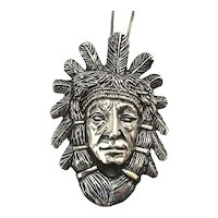 Vintage Sterling Silver Indian Chief Face Like No Other Necklace