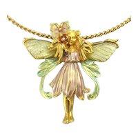 Vintage KIRKS FOLLY Fabulous Butterfly Fairy Necklace