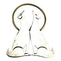 Taxco Sterling Silver Howling At The Moon Pin Brooch