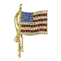 Vintage Rhinestone American Flag Pin Brooch Red White n Blue