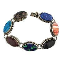 Signed SAUL 925 Mexican Stones in Sterling Link Bracelet