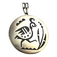 Hopi Sterling Silver Overlay BIRD Pin Pendant Necklace Hopicrafts Sekaquoptewa