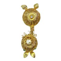 Gilded Wire Cat Bobble Pin Brooch - Trembler Shimmies and Shakes