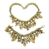 Great Necklace Bracelet Set - Gilt Leaves w/ Faux Pearl Acorns Bonwit's