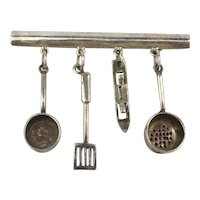 Sterling Silver REO Pin Brooch - Hanging Kitchen Utensils