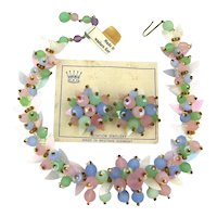 Rare W. Germany Pastel Glass Cluster Necklace Earrings Set So Haskellesque