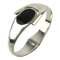 Taxco Mexican Sterling Silver Hinge Cuff Bracelet