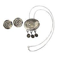 JAE Jolene Eustace Cochiti Zuni Necklace Pin Earrings Set Sterling 925 Silver 14K Gold