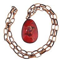 Mid-Century Red Enamel on Copper Abstract Art Necklace