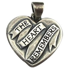 James Avery 925 Sterling Silver Heart Charm ~ The Heart Remembers ~ Brother