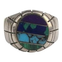 Taxco Men's Sterling Silver Ring Stone Inlay - Size 12 +