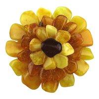 Vintage Handmade Genuine Amber Flower Pin Pendant - 3 Colors