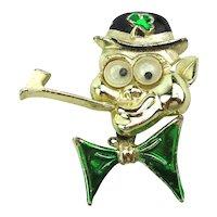 Beatrix Googly-Eye Enamel Irish Man Pin Brooch w/ Pipe - Moving Bowtie