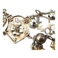 Vintage DIOR Silvered Link Bracelet w/ Charms